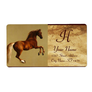 RED HORSE MONOGRAM ,brown parchment Label
