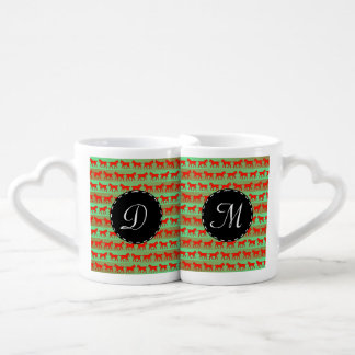 Red horses coffee mug set