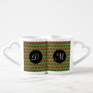 Red horses pattern coffee mug set