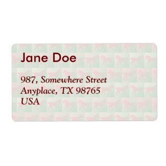 Red horses pattern shipping label