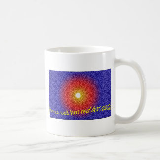 red hot, abstract design coffee mug