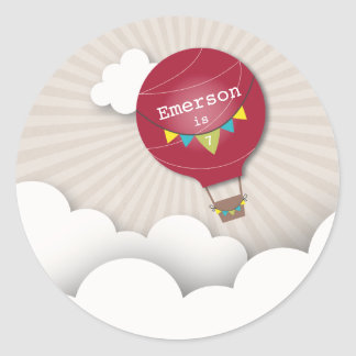 Red Hot Air Balloon Birthday Party Sticker
