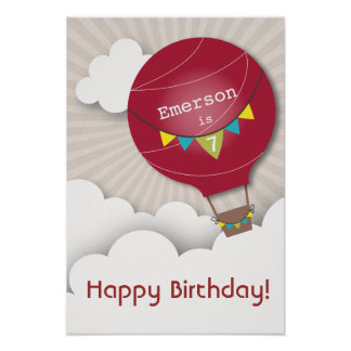 Red Hot Air Balloon Birthday Poster