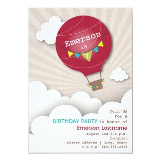 Red Hot Air Balloon & Clouds Kids' Birthday Card