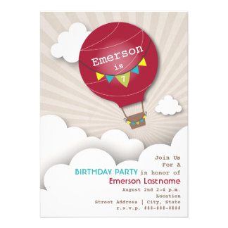 Red Hot Air Balloon & Clouds Kids' Birthday Custom Announcement