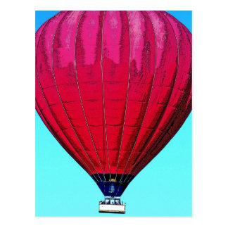 Red Hot Air Balloon in Blue Sky Postcard