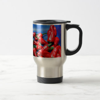 Red hot and blue: chilli peppers travel mug