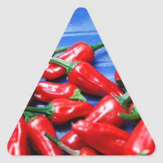 Red hot and blue: chilli peppers triangle sticker