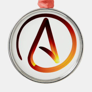Red Hot Atheist Round Metal Christmas Ornament