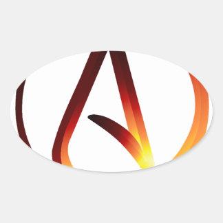 Red Hot Atheist Oval Sticker