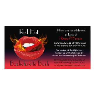 Red Hot Bachelorette Bash Invitation Custom Photo Card