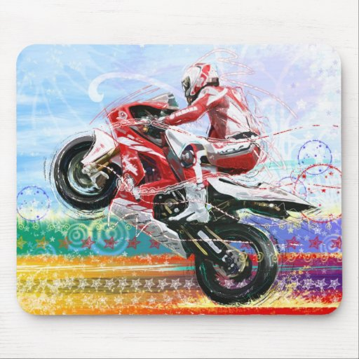 RED HOT BIKER MOUSE PAD