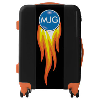 Red Hot Blue Dot Flaming Fireball Personalized Luggage