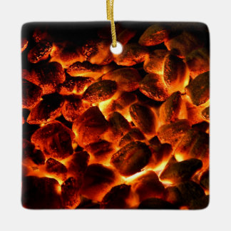 Red Hot Burning Coals Ceramic Ornament