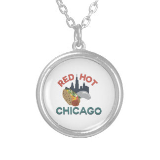 Red Hot Chicago Round Pendant Necklace