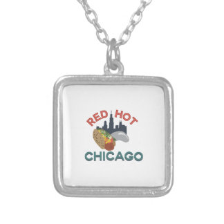 Red Hot Chicago Square Pendant Necklace