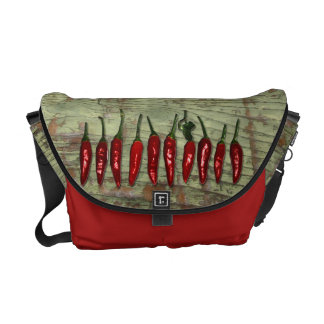 Red Hot Chili Peppers Vintage Green Wood Look Messenger Bags