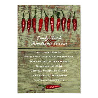 Red Hot Chili Peppers Wood Look Wedding Invitation