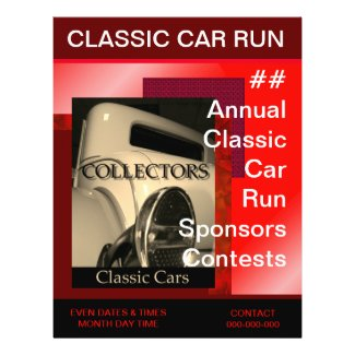 Red Hot Classic Car Run Example Template Flyer