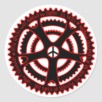 Red Hot Cycle Tracks in Utopia Classic Round Sticker