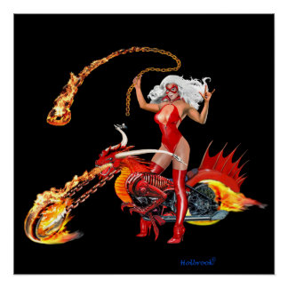Red Hot Dragon Biker Babe Poster