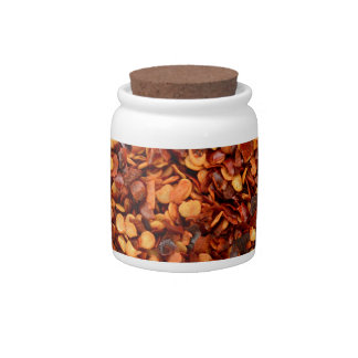 Red hot dried chilli flakes candy jars