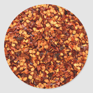 Red hot dried chilli flakes classic round sticker