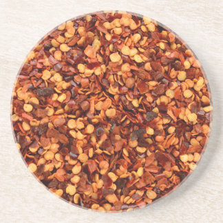 Red hot dried chilli flakes drink coaster