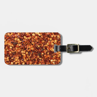 Red hot dried chilli flakes luggage tags