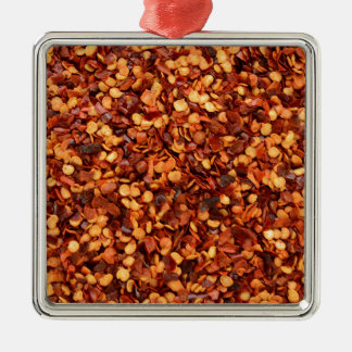 Red hot dried chilli flakes metal ornament