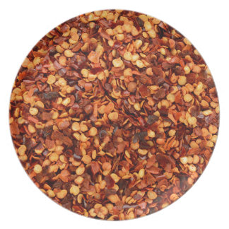 Red hot dried chilli flakes party plates