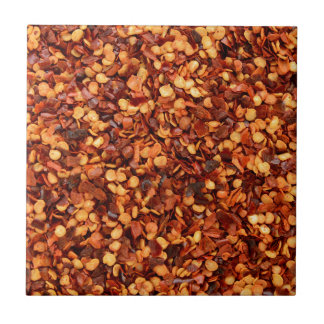 Red hot dried chilli flakes tiles