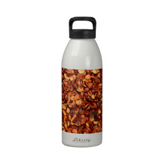 Red hot dried chilli flakes reusable water bottle