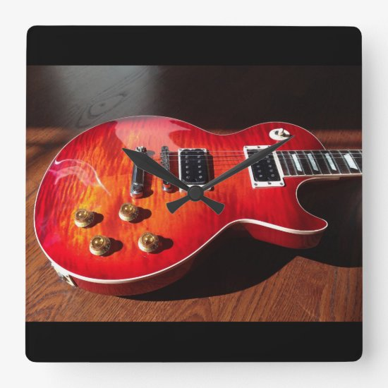 Red Hot Electric Guitar Clock