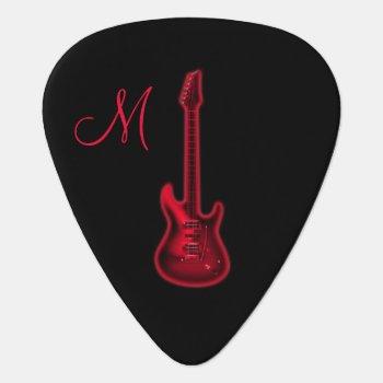 Red Hot Electric Guitar Monogram Guitar Pick by UROCKDezineZone at Zazzle