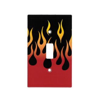 Red Hot Fire Flames in Red Gold and Black Light Switch Cover