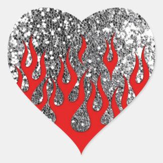 Red Hot Flames on Silver Glitter Look Heart Sticker