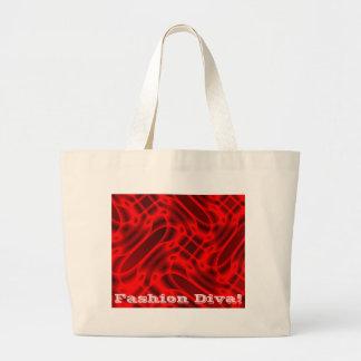 Red Hot Flaming Purse Fashion Diva! Large Tote Bag