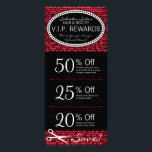"""Red Hot Glam Custom Salon Coupon Rack Cards<br><div class=""""desc"""">This fabulous ruby red rack card features 3 Coupons on the front and salon info on the back, including a list of services. All info can be edited to suit your business needs, including Coupon amounts and details. Perfectly personalized promotional materials for hairdressers, hair salons, spas and other companies in...</div>"""