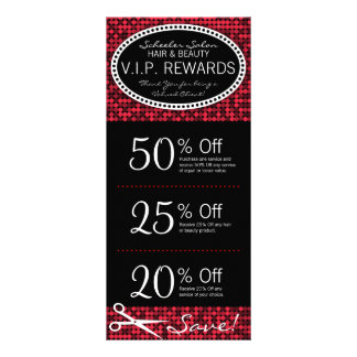 Red Hot Glam Custom Salon Coupon Rack Cards