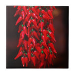 Red Hot Hanging Chili Peppers Image Design Tile