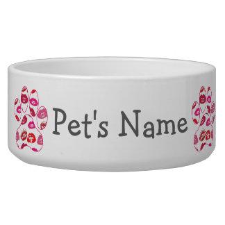 Red Hot Lips Dog Paw Print Bowl