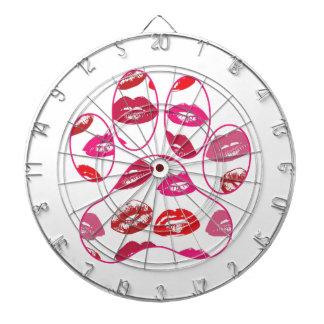 Red Hot Lips Dog Paw Print Dartboard With Darts