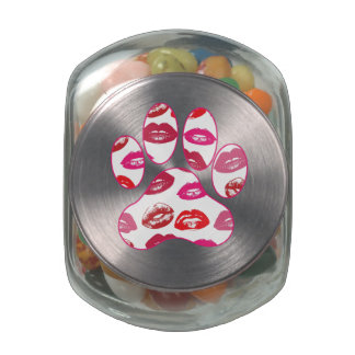 Red Hot Lips Dog Paw Print Jelly Belly Candy Jar