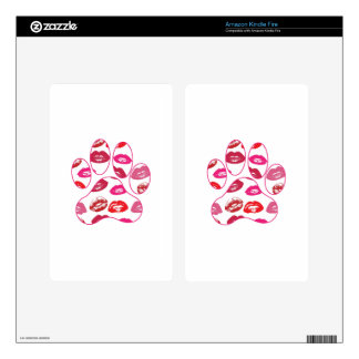 Red Hot Lips Dog Paw Print Kindle Fire Decal
