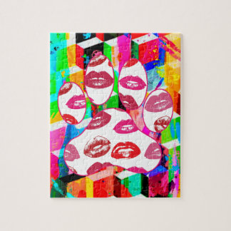 Red Hot Lips Dog Paw Print Puzzle
