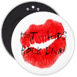 Red Hot Lips I 6 Inch Round Button