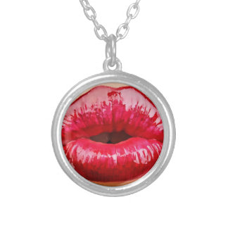 Red hot lips kiss necklace