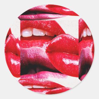 Red Hot Lipstick Lips Round Stickers