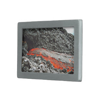 Red hot magma flowing belt buckle